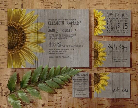 Rustic Wedding Invitation Sets: Rustic Sunflowers Wedding Invitation Set/Suite By