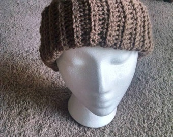 Handmade ribbed crochet tan beanie