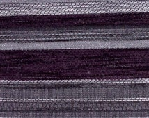 Diamante Striped Designer Curtain / Upholstery Fabric in Mulberry, Grey and white by the Metre (DB19)