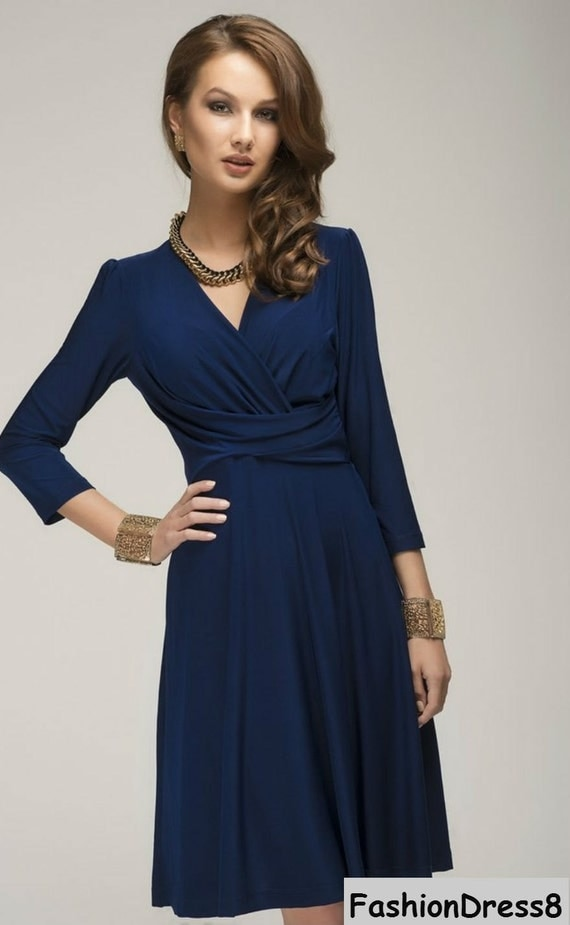 Navy Blue DressSimple Skater Wrap Dress Maternity