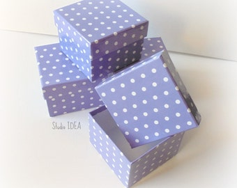 Set of 6 Purple White Polka Dots Boxes with Lid-Gift Box, Favor Box, Candy Box- Set of 6