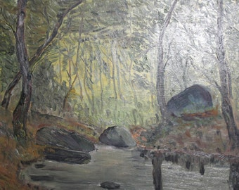 Vintage Bulgarian art river rocks landscape oil painting