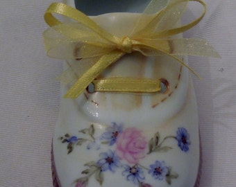 Baby Shoe-Hand painted  porcelain 5 inch Yellow Baby Tennis Shoe