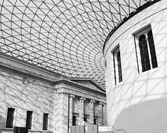 British Museum, London Photography, Black and White Photography, Fine Art Print, Architecture, Travel Photo, Wall Art, Matted Print