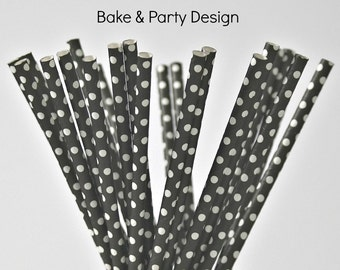 25 Piece Paper Straws Vintage Black & White Polka Dots Party Supplies  Baby Shower Birthday Party Wedding Bridal Shower