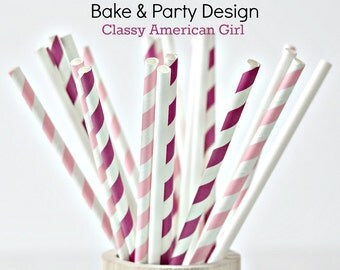 Paper Straws-  Party Straws- Polka Dot and Stripes Straws 24 Piece-American Girl Doll straws