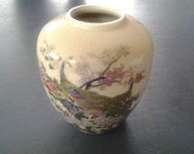 Vintage 1980s Asahi Japanese Peacock Vase/Made in Japan
