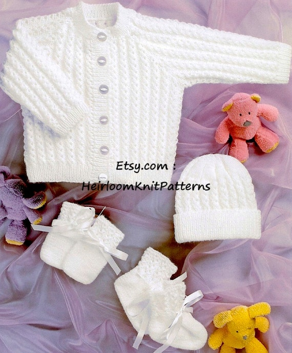Instant download 637 Premature-2ys Baby Set: Jacket Hat