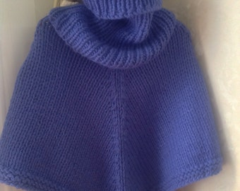 Set of Poncho and scarf-tubes of purple-blue wool