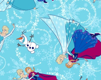 Frozen Sisters Disney Glitter Fabric Anna Elsa Blue *IN STOCK!