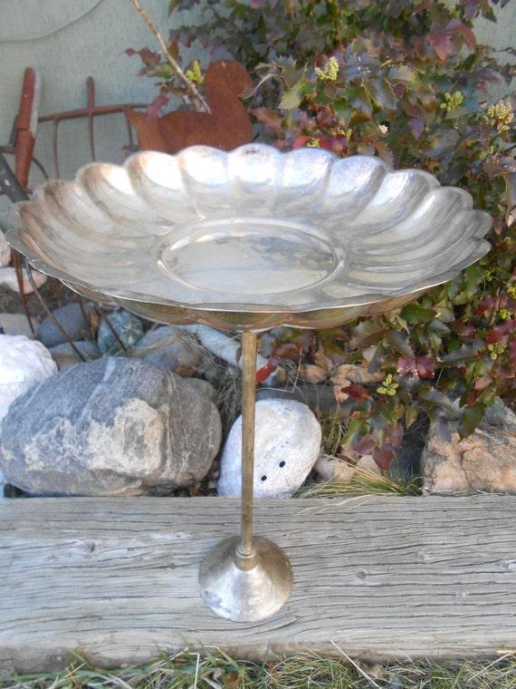 Antique Silver Bath Accessories: Vintage Silver Plated Metal Bird Bath Or Bird By CheekyBirdy