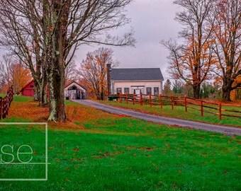 The Autumn House - Matted Vermont Landscape Photo Art Print