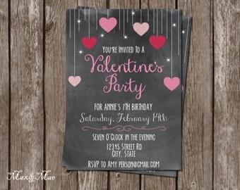 Valentines Birthday Invitation, Heart Birthday Invite, Valentine's Day Party, Our Little Valentine, Heart Invitation, Digital, Printable