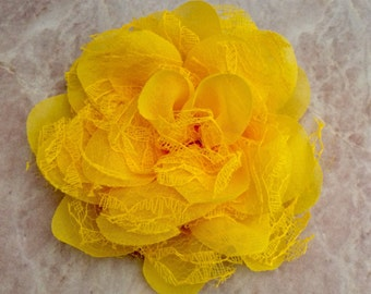 Chiffon and lace flower, large flower, yellow flower, lace flower, flower puff, flower supplies, DIY supplies,