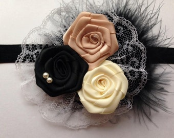 Classic Satin, Lace, and Feathers Girls Headband