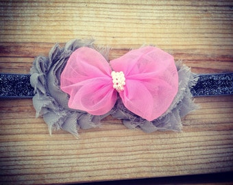 Grey & Pink Bow Headband