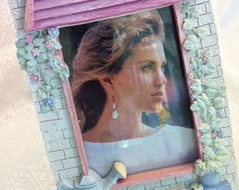 Shabby Chic 4x6 Pink Blue Floral Watering Can Ceramic Photo Picture Frame