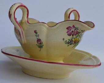 Vintage French Gravy Boat, Gravy Bowl, Sauce Bowl, Gravy Pitcher / Jug with attached under plate