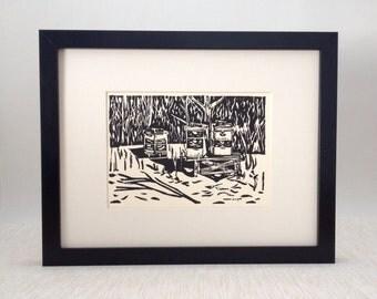 "Beehives in Winter handmade linocut print 5x7"", unframed (soft white) - home decor, beekeeper gift, beekeeping art, made in MI"