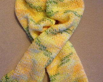 CHILD Green & Yellow Knitted Scarf