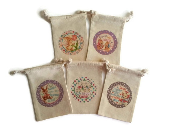 Vintage easter bunnies set of 5 muslin 4x6 gift bags bunny like this item negle Image collections
