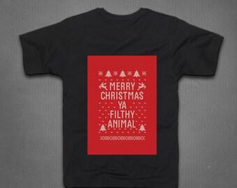 Merry Christmas Ya Filthy Animal T Shirt