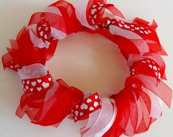 Red Valentine Glitter Hearts Ribbon Collar