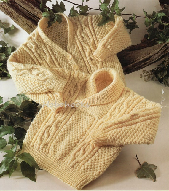 Aran Childrens Knitting Patterns : Baby toddler childrens aran sweater cable sweater shawl collar