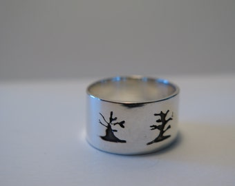 Openwork ring.  Handmade silver 925 ring.  Boreal forest trees...