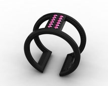 Exceptional and Exquisite 14k Black Gold Ring for Women with Pink Sapphires Item # Love-0156