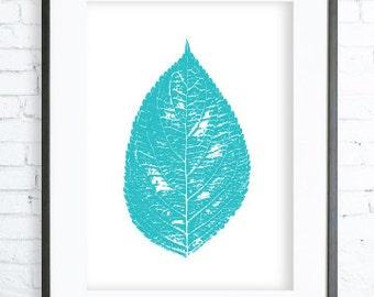 Instant Download Printable, Turquoise Leaf, Print Art,  modern art, leaf art, leaf print
