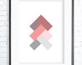 Christmas Printable art, Geometric Red Print Art, Print Art,  modern art, digital art, Print, Green Art, Instant Download Printable