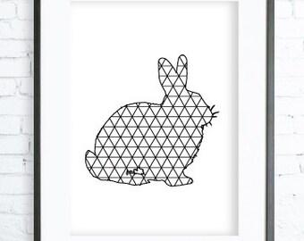 Rabbit Print Art, Instant Download Printable,  modern art, digital art, Print,Black and White, Rabbit art, Rabbit print