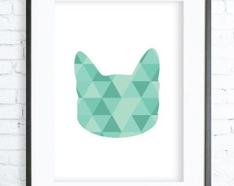 Mint Cat - Cat Print Art - Cat Modern Art Print - Gallery Wall - Instant Download Printable - Cat Poster - Cat Art, Geometric Cat