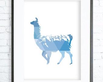 Geometric Blue Llama Print, Blue Llama Print Art, printable Llama art, Print Art, Llama Wall Decor, Llama Art Print, office artwork