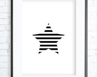 Star Decor , Star Print Art , Geometric Print, Instant download, Black Star ART, digital print, printable art, scandinavian wall art