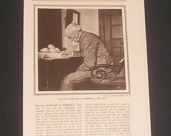 1907 Charles H. Haswell CE ME Designed Machinery of 10 U.S.Naval Warships & First Steam Yacht Marine Engineer Vintage Magazine Photo Article