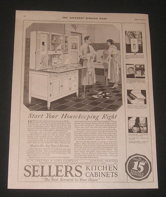 1921 G I Sellers Kitchen Cabinets Ad Husband Helping Wife With Dishes