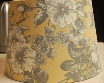 Yellow/Gold Gray Off White Floral Lamp Shade