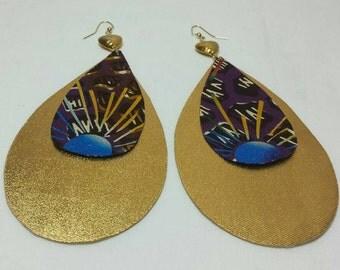 Golden Ankara oversized earrings