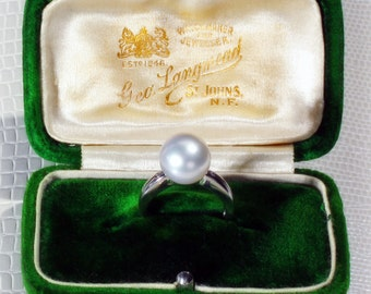Solid 18kt white gold .03 CTTW diamonds & 12.00 mm South Sea Paspaley undrilled cultured pearl ring, US SZ 7