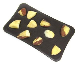 Artisan dark chocolate bar with brazil nuts. 100 grams