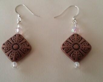 Brown hanging earrings