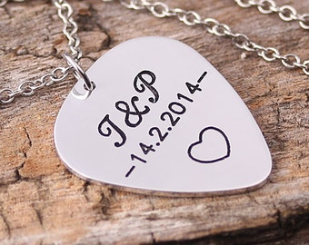 Personlaized Guitar Pick Necklace - Engraved Guitar Pick Necklace - Initials Name Guitar Pick - Handmade Necklace - Gift for Love