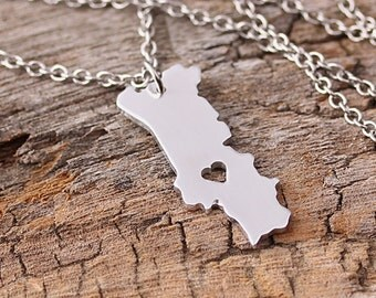 I heart Portugal Necklace - Portugal Pendant - Portugal Map Charm - Map necklace - Map Jewelry