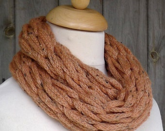 Merino Snood: orange tweed