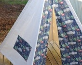Christmas Sale, Vintage Style London Pattern Off White Canvas Teepee Fabric