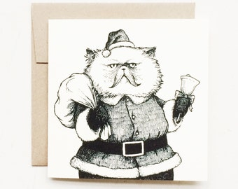 Santa Cat Christmas Card. Hand drawn design. Perfect holiday card for cat lovers.
