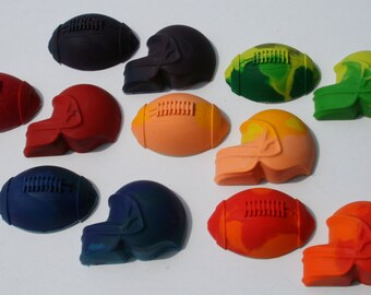 Set of 12 Colorful Football and Helmet Crayons