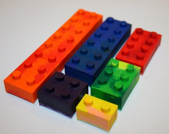 Set of 6 Colorful Lego Crayons